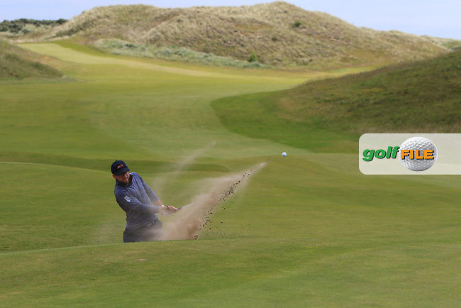 Benedikt Thalmayr (GER) in a bunker on the 4th during Round 1 of the The Amateur Championship 2019 at The Island Golf Club, Co. Dublin on Monday 17th June 2019.<br /> Picture:  Thos Caffrey / Golffile<br /> <br /> All photo usage must carry mandatory copyright credit (© Golffile | Thos Caffrey)