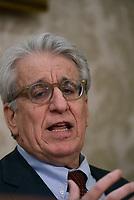 Roma, 3 Aprile 2017<br /> Luigi Manconi, senatore.<br /> Conferenza stampa al Senato della famiglia di Giulio Regeni, il giovane ricercatore scomparso e trovato morto con evidenti segni di torture in Egitto a febbraio del 2016