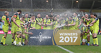 Leicester Tigers&rsquo; with the Anglo Welsh Cup<br /> <br /> Photographer Rachel Holborn/CameraSport<br /> <br /> Anglo-Welsh Cup Final - Exeter Chiefs v Leicester Tigers - Sunday 19th March 2017 - The Stoop - London<br /> <br /> World Copyright &copy; 2017 CameraSport. All rights reserved. 43 Linden Ave. Countesthorpe. Leicester. England. LE8 5PG - Tel: +44 (0) 116 277 4147 - admin@camerasport.com - www.camerasport.com