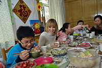 "Swiss singer and TV presenter Francine Jordi has lunch with students while visiting ""SOS Kinderdorf"" in Tianjin, China. 22-Mar-2016"