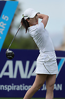 Jennifer Song watches her drive off of the 9th tee during Round 3 at the ANA Inspiration, Mission Hills Country Club, Rancho Mirage, Calafornia, USA. {03/31/2018}.<br />