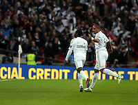 Pictured L-R: Nathan Dyer of Swansea celebrating his goal with team mate Ashley Williams. Sunday 24 February 2013<br /> Re: Capital One Cup football final, Swansea v Bradford at the Wembley Stadium in London.