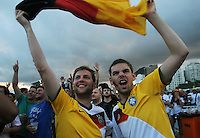 Germany supporters react during a live broadcast of the soccer World Cup match between Gana and Germany<br />  on Copacabana beach, Rio de Janeiro, Brazil, June 21, 2014