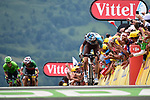 Romain Bardet (FRA) AG2R La Mondiale races for the finish line at Peyragudes chased by Fabio Aru (ITA) Astana and Rigoberto Uran (COL) Cannondale Drapac during Stage 12 of the 104th edition of the Tour de France 2017, running 214.5km from Pau to Peyragudes, France. 13th July 2017.<br /> Picture: ASO/Pauline Ballet | Cyclefile<br /> <br /> <br /> All photos usage must carry mandatory copyright credit (&copy; Cyclefile | ASO/Pauline Ballet)