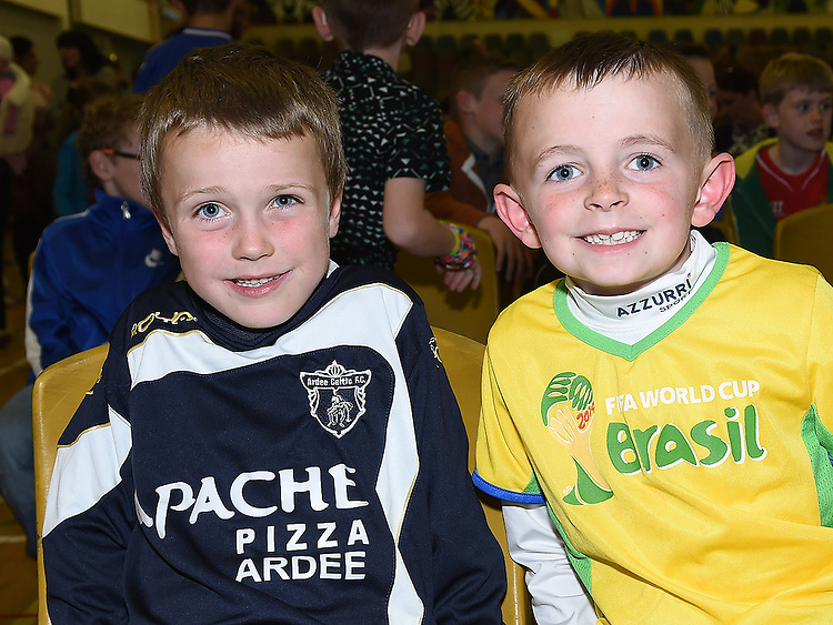 Adam Keenan and Cole Leavy pictured at Ardee Celtic underage awards night in Ardee Parish Centre. Photo:Colin Bell/pressphotos.ie