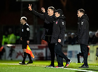 Fleetwood Town's manager Joey Barton (centre) reorganises his side after the sending off of Ched Evans (not shown) <br /> <br /> Photographer Andrew Kearns/CameraSport<br /> <br /> The EFL Sky Bet League One - Wycombe Wanderers v Fleetwood Town - Tuesday 11th February 2020 - Adams Park - Wycombe<br /> <br /> World Copyright © 2020 CameraSport. All rights reserved. 43 Linden Ave. Countesthorpe. Leicester. England. LE8 5PG - Tel: +44 (0) 116 277 4147 - admin@camerasport.com - www.camerasport.com
