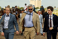 HALLANDALE BEACH, FL  JANUARY 27: Trainer Steve Asmussen and his sons follow Gun Runner into the saddling paddock before the running of the Pegasus World Cup Invitational, at Gulfstream Park Race Track on January 27, 2018, p in Hallandale Beach, Florida. (Photo by Casey Phillips/ Eclipse Sportswire/ Getty Images)