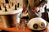 USA, California, Healdsburg, wine and caviar being served inside of Cyrus Restaurant in Alexander Valley