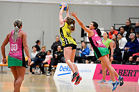 Central Manawa&rsquo;s Maddy Gordon and Southern Blast&rsquo;s Julia Law in action during the Beko Netball League - Central Manawa v Southern Blast at ASB Sports Centre, Wellington, New Zealand on Sunday 12 May 2019. <br /> Photo by Masanori Udagawa. <br /> www.photowellington.photoshelter.com