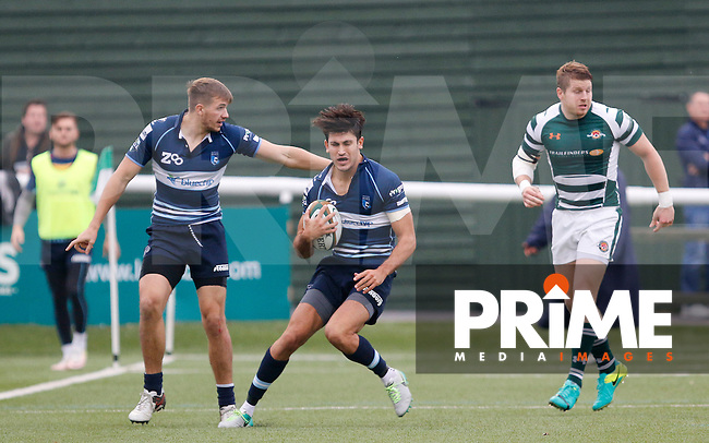 Bedford's Elliott Clement-Hill in action during the Greene King IPA Championship match between Ealing Trailfinders and Bedford Blues at Castle Bar , West Ealing , England  on 29 October 2016. Photo by Carlton Myrie / PRiME Media