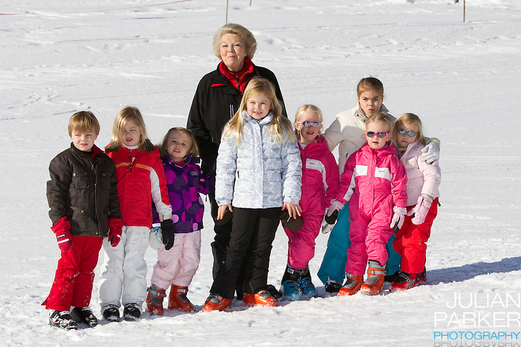Queen Beatrix of Holland with her grandchildren attend a Photocall with Members of The Dutch Royal Family during their Winter Ski Holiday in Lech Austria