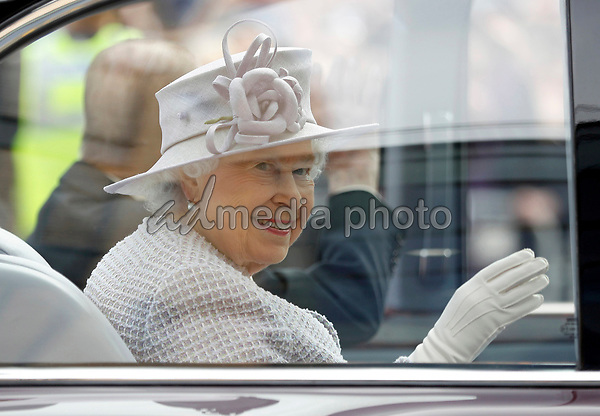 11 April 2017 - Queen Elizabeth II leaves after a visit to Priory View, an independent living scheme for older residents, in Dunstable, Bedfordshire. Photo Credit: ALPR/AdMedia