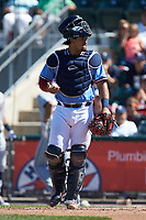 Lehigh Valley Iron Pigs catcher Jorge Alfaro (24) on defense against the Durham Bulls at Coca-Cola Park on July 30, 2017 in Allentown, Pennsylvania.  The Bulls defeated the IronPigs 8-2.  (Brian Westerholt/Four Seam Images)