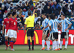 14 Javier MASCHERANO getting a yellow card during the 2010 World Cup Soccer match between Argentina vs Korea Republic played at Soccer City in Johannesburg, South Africa on 17 June 2010.  Photo: Gerhard Steenkamp/Cleva Media