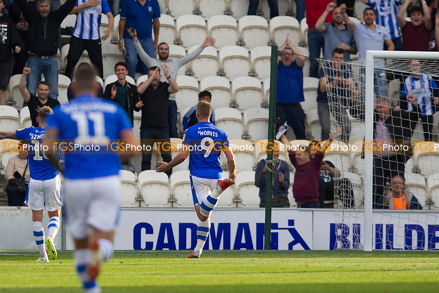 Luke Norris of Colchester United celebrates in front of the home crowd after his goal sealed victory during Colchester United vs Crawley Town, Sky Bet EFL League 2 Football at the JobServe Community Stadium on 13th October 2018