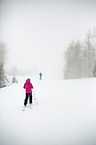 USA, Colorado, Aspen, traversing the mountain in a snow storm, Aspen Highlands Ski Resort