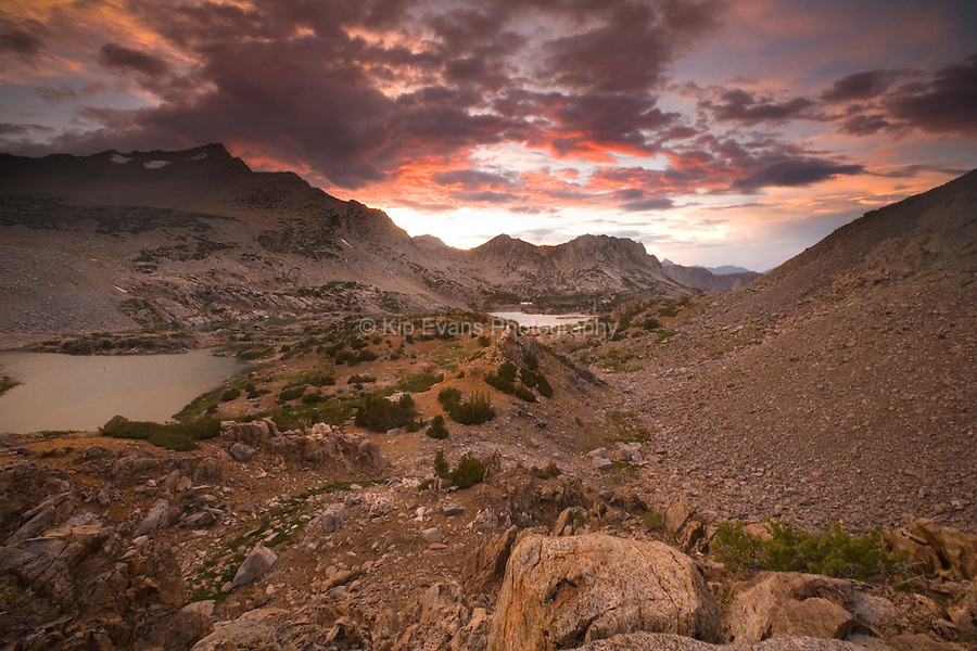 Sunrise and a mountain stream, Bishop Pass, Sierra Nevada CA, eastern sierra