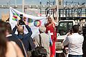 A model embodies Switzerland on the day of laying the first stone of the Swiss pavilion at Expo Milano 2015, Rho-Pero, Milan, September 12, 2014. &copy; Carlo Cerchioli<br /> <br /> Una modella incarna la Svizzera il giorno della posa della prima pietra del padiglione all'Expo Milano 2015, Rho-Pero, Milano, 12 Settembre 2014.