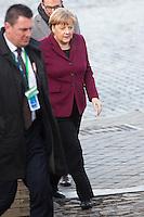 Angela Merkel, lors du Sommet statutaire du Parti Populaire Europ&eacute;en (PPE), &agrave; Bruxelles.<br /> Belgique, Bruxelles, 15 d&eacute;cembre 2016<br /> Angela Merkel attends the  EPP ( European People&rsquo;s Party ) meeting in Brussels.<br /> Belgium, Brussels, 15 December 2016
