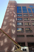 Roof Replacement and Masonry Repairs.  New Haven County Courthouse. Project No: BI-JD-316A Architect: Wiss, Janney, Elstner Associates, Inc. Contractor: Silktown Roofing, Manchester CT.<br /> Camera View: South, North Elevation, East end of Building