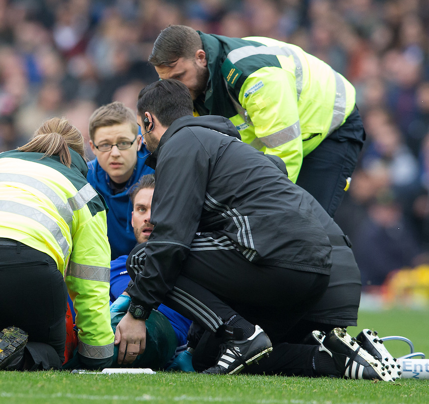 Birmingham City's Rhoys Wiggins is stretchered off<br /> <br /> Photographer James Williamson/CameraSport<br /> <br /> The EFL Sky Bet Championship - Birmingham City v Aston Villa - Sunday October 30th 2016 - St Andrews - Birmingham<br /> <br /> World Copyright &copy; 2016 CameraSport. All rights reserved. 43 Linden Ave. Countesthorpe. Leicester. England. LE8 5PG - Tel: +44 (0) 116 277 4147 - admin@camerasport.com - www.camerasport.com