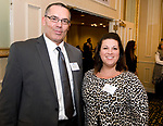 SOUTHBURY, CT-012318JS21--Robert Stabile of Liberty Bank and Kristie Balisciano with Easter Seals, at the Waterbury Regional Chamber's Legislative and Economic Summit held at the Wyndham Southbury. <br /> Jim Shannon Republican-American