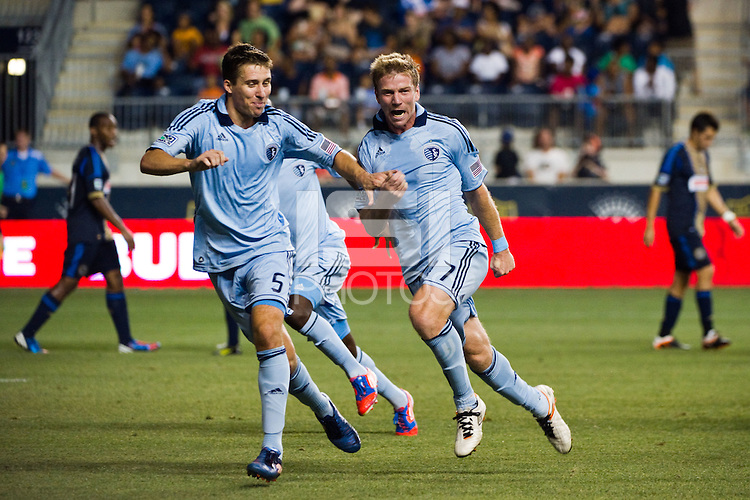 Jacob Peterson (37) of Sporting Kansas City celebrates scoring the game winning goal. Sporting Kansas City defeated the Philadelphia Union 2-0 during the semifinals of the 2012 Lamar Hunt US Open Cup at PPL Park in Chester, PA, on July 11, 2012.
