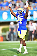 Newark, DE - OCT 29, 2016: Delaware Fightin Blue Hens defensive back Justin Watson (22) gets the crowd pumped up during game between Towson and Delaware at Delaware Stadium Tubby Raymond Field in Newark, DE. (Photo by Phil Peters/Media Images International)