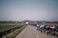 Racing in the infamous windy 'Moeren'  forcing splits/echelons in the peloton<br /> <br /> Driedaagse Brugge-De Panne 2018<br /> Bruges - De Panne (202km)