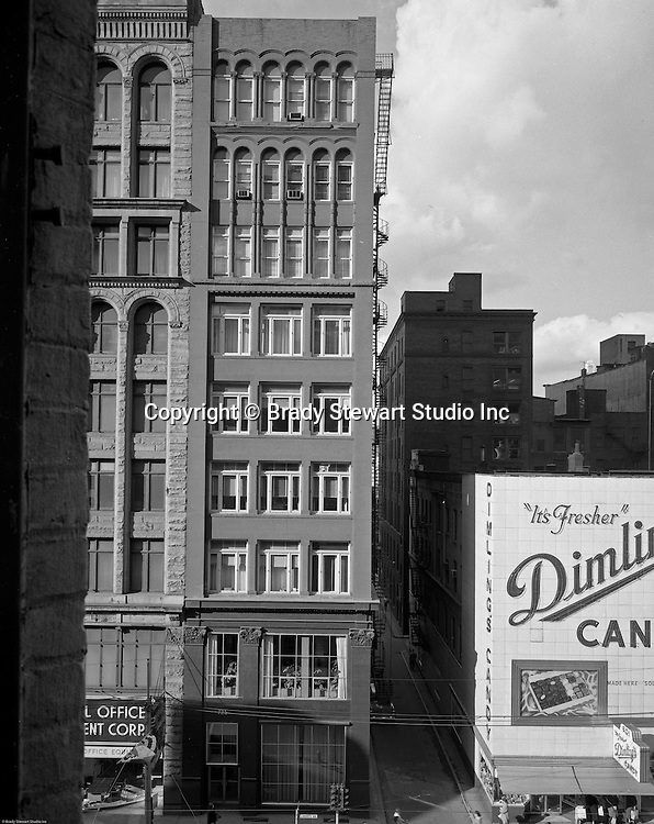 Pittsburgh PA:  View of the Gamble/725 Liberty Avenue building and Dimlings Candy - 1963.  Brady Stewart Studio occupied the 4th floor of the Gamble/725 Liberty Avenue building for 25 years.