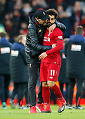 9th February 2019, Anfield, Liverpool, England; EPL Premier League football, Liverpool versus AFC Bournemouth; Liverpool manager Jurgen Klopp hugs Mohamed Salah after the final whistle