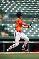 Baltimore Orioles Andrew Jayne (53) follows through on a swing during a Florida Instructional League game against the Philadelphia Phillies on October 4, 2018 at Ed Smith Stadium in Sarasota, Florida.  (Mike Janes/Four Seam Images)