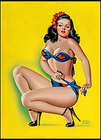 BNPS.co.uk (01202 558833)<br /> Pic: HeritageAuctions/BNPS<br /> <br /> Pin-Up in a Bikini by Peter Driben estimated at &pound;6,400.<br /> <br /> These are the pin-ups troops stuck to their walls to keep morale up while far away from home during the Second World War.<br /> <br /> Before the era of Playboy magazine and the advent of the internet, a group of artists saw an opportunity and started producing pieces of art work of scantily clad women which would get pulses racing.<br /> <br /> The format took off during the war while American troops were overseas and far away from their wives and partners and continued to prove popular throughout the 1950s and into the 1960s. <br /> <br /> Now, original oil on canvas paintings have emerged for auction from the leading names of the genre including Gil Elvgren, Haddon Hubbard Sundblom, Alberto Vargas and Enoch Bolles.<br /> <br /> The marquee piece is Fire Belle (1956) by Elvgren of a lady in a bright red hat and red boots sliding down a fireman's pole which is tipped to sell for &pound;120,000 ($150,000).