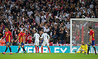 Jamie Vardy (Leicester City) of England celebrates his goal doing a mannequin challenge with Raheem Sterling (Man City) of England during the International Friendly match between England and Spain at Wembley Stadium, London, England on 15 November 2016. Photo by Andy Rowland.