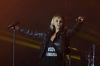 Argentinian singer Chenoa during her concert.<br /> Argentinian pop star singer Chenoa in concert during the Castanar Virgin Fair in Bejar, North East of Spain, on September 8, 2017.