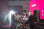 Team Sunweb on stage at the Team Presentation before the 101st edition of the Giro d'Italia 2018. Jerusalem, Israel. 3rd May 2018.<br /> Picture: LaPresse/Marco Alpozzi | Cyclefile<br /> <br /> <br /> All photos usage must carry mandatory copyright credit (&copy; Cyclefile | LaPresse/Marco Alpozzi)