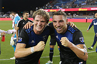 SAN JOSE, CA - AUGUST 24: Florian Jungwirth #23 and Guram Kashia #37 of the San Jose Earthquakes celebrate after a Major League Soccer (MLS) match between the San Jose Earthquakes and the Vancouver Whitecaps FC  on August 24, 2019 at Avaya Stadium in San Jose, California.
