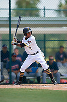 GCL Pirates center fielder Lolo Sanchez (2) at bat during a game against the GCL Braves on July 26, 2017 at Pirate City in Bradenton, Florida.  GCL Braves defeated the GCL Pirates 12-5.  (Mike Janes/Four Seam Images)