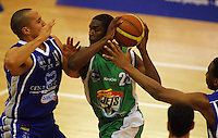 Keith Davis is blocked by Brendon Polybank during the NBL Round 14 match between the Manawatu Jets  and Wellington Saints. Arena Manawatu, Palmerston North, New Zealand on Saturday 31 May 2008. Photo: Dave Lintott / lintottphoto.co.nz