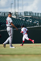 Mesa Solar Sox second baseman Esteban Quiroz (2), of the Boston Red Sox organization, rounds the bases after hitting a home run off starting pitcher Jeremy Walker (58) during an Arizona Fall League game against the Peoria Javelinas at Sloan Park on October 11, 2018 in Mesa, Arizona. Mesa defeated Peoria 10-9. (Zachary Lucy/Four Seam Images)