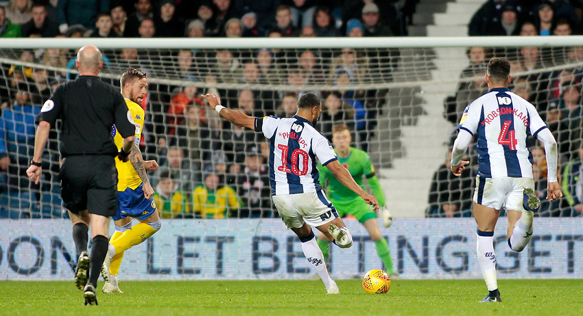 West Bromwich Albion's Matt Phillips scores his side's second goal <br /> <br /> Photographer David Shipman/CameraSport<br /> <br /> The EFL Sky Bet Championship - West Bromwich Albion v Leeds United - Saturday 10th November 2018 - The Hawthorns - West Bromwich<br /> <br /> World Copyright © 2018 CameraSport. All rights reserved. 43 Linden Ave. Countesthorpe. Leicester. England. LE8 5PG - Tel: +44 (0) 116 277 4147 - admin@camerasport.com - www.camerasport.com