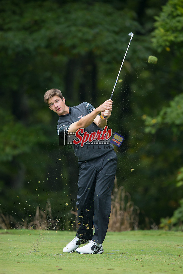 Trevor Cone of the Virginia Tech Hokies follows through on his tee shot at the Primland Collegiate Invitational at the Primland Resort on September 29, 2014 in Meadows of Dan, Virginia.  (Brian Westerholt/Sports On Film)