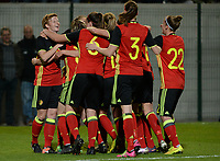 20170411 - LEUVEN ,  BELGIUM : Belgian players  pictured their 1-0 lead during the friendly female soccer game between the Belgian Red Flames and Scotland , a friendly game in the preparation for the European Championship in The Netherlands 2017  , Tuesday 11 th April 2017 at Stadion Den Dreef  in Leuven , Belgium. PHOTO SPORTPIX.BE | DAVID CATRY