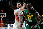 Spain´s Pau Gasol (L)  and Senegal´s Dieng during FIBA Basketball World Cup Spain 2014 match between Spain and Senegal at `Palacio de los deportes´ stadium in Madrid, Spain. September 06, 2014. (Victor Blanco)