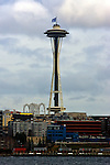 The 12th Man flag flies over the Seattle Space Needle in downtown Seattle. The flag represents the extra dimension that loyal fans play in the success of their team. This flag is flown in support of the Seattle Seahawks football team.