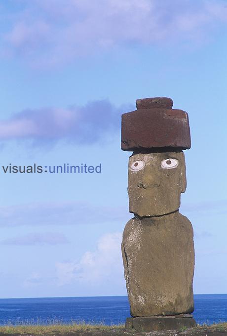 Ahu Ko Te Riki statue, West Coast, Easter Island, Chile.