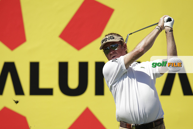 Miguel Angel Jimenez (ESP) tees off the par3 8th tee during Thursday's Round 1 of the 2014 Open de Espana held at the PGA Catalunya Resort, Girona, Spain. Wednesday 15th May 2014.<br /> Picture: Eoin Clarke www.golffile.ie