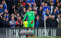 Chelsea supporters refuse to give Goalkeeper Heurelho Gomes of Watford the ball during the Premier League match between Chelsea and Watford at Stamford Bridge, London, England on 21 October 2017. Photo by Andy Rowland.