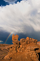 746000047 a summer thunderstorm and rainbow form over the sandstone hoodoos in fantasy canyon blm lands utah united states