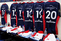 London Scottish kits hung up pre-match during the Championship Cup match between London Scottish Football Club and Yorkshire Carnegie at Richmond Athletic Ground, Richmond, United Kingdom on 4 October 2019. Photo by Carlton Myrie / PRiME Media Images